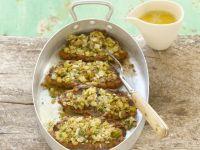 Lammkoteletts mit Porree überbacken Rezept
