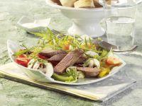 Lauwarmer Salat mit Lammfilet und Papaya Rezept