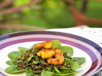 Linsensalat mit knusprigen Shrimps Rezept