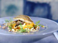 Loup de mer mit Karoffel-Kürbispüree Rezept