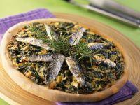 Mangold-Pizza mit Sardinenfilets