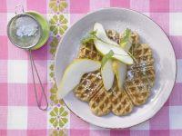 Maronenwaffeln mit Birnen Rezept