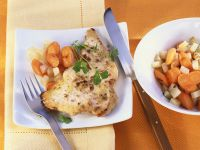 Meerrettich-Putenschnitzel mit Gemüse Rezept