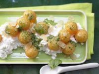 Melonensalat auf Frischkäse