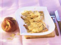 Mit Pfirsich gebackene Putenschnitzel Rezept