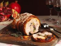 Mit Trauben und Spinat gefüllter Schweinebraten Rezept