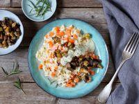 Möhren-Risotto mit Auberginen und Pesto-Sauce Rezept