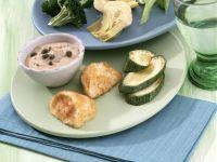 Mozzarella-Fondue mit Gemüse und Thunfisch-Mayonnaise