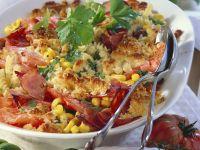 Nudel-Tomaten-Gratin mit Schinken und Mais Rezept