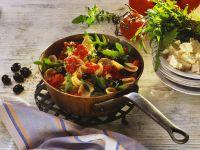 Nudeln mit Tomaten und Rucola Rezept