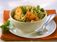 Nudeln mit Zucchini-Garnelensauce Rezept