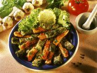 Omelettstreifen mit Gemüse und Kräutern Rezept