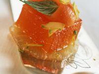 Orangengelee mit Grapefriut und Papaya Rezept