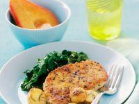 Panierte Koteletts mit Spinat und Bratkartoffeln Rezept
