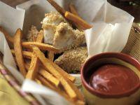 Panierter Sesam-Fisch mit Süßkartoffelpommes und Ketchup Rezept