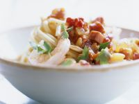 Pasta mit Garnelen und Speckwürfeln Rezept