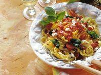 Pasta mit Tomaten und Ziegenkäse Rezept