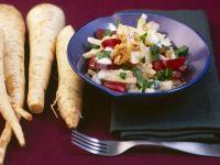 Petersilienwurzel-Apfel-Salat mit Weintrauben