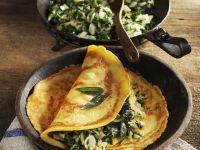Pfannkuchen aus Kichererbsenmehl mit Mangoldgemüse Rezept