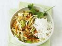 Pikantes Kokosgemüse mit Reis Rezept