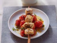 Poularden-Spieße mit Tomaten Rezept