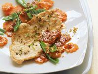 Putenbrust mit Gemüse und Chilidip Rezept