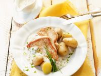 Putensteaks mit Cremesauce und Kartoffeln Rezept