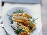 Raffiniert gefülltes Kräuterhähnchen mit gemischtem Gemüse Rezept