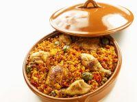 Reis mit Hähnchen geschmort Rezept