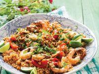 Reis mit Hähnchen, Wurst und Shrimps Rezept