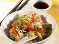 Reis mit Rotbarsch und Gemüse