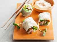 Reispapierröllchen mit Huhn, Gemüse und Dip Rezept