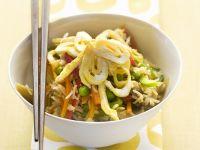 Reispfanne mit Eierstich und Gemüse Rezept
