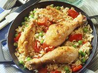 Reispfanne mit Gemüse und Hähnchen Rezept