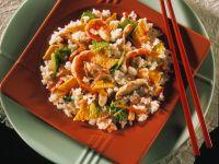 Reispfanne mit Omelette und Hähnchen Rezept