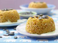 Reistürmchen mit Erbsensauce Rezept