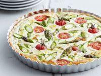 Ricotta-Tarte mit grünem Spargel und Tomaten Rezept