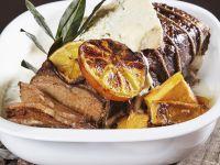 Rinderbraten mit Butternut-Kürbis, Orangen und Blauschimmelkäse Rezept