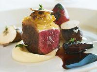 Rinderfilet mit Schalotten in Portwein und Selleriepüree Rezept
