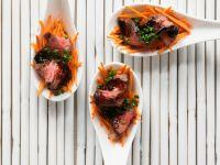 Rinderfilethappen mit Karotten und Balsamicosirup Rezept