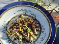 Rindfleischpfanne mit Reis und Omelett Rezept