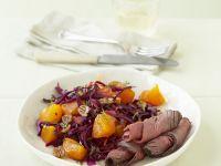 Roastbeef mit Kaki-Rotkohl-Salat Rezept