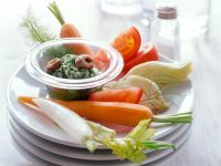 Rohkost mit Kräuter-Sardellen-Dip Rezept