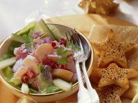 Rote-Bete-Hering-Salat und Sesamtoast an Weihnachten Rezept