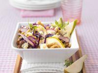 Rotkohl-Birnen-Salat mit Linsen Rezept