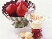 Rotweinbirnen mit Zabaione Rezept