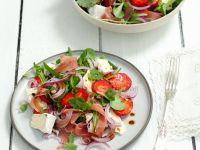 Rucola-Erdbeersalat mit Schinken Rezept