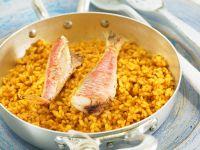 Safran-Curry-Reis mit Rotbarben Rezept