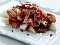 Salat mit Birne und Schinken Rezept