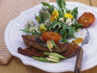 Salat mit Leber und Aprikosen Rezept